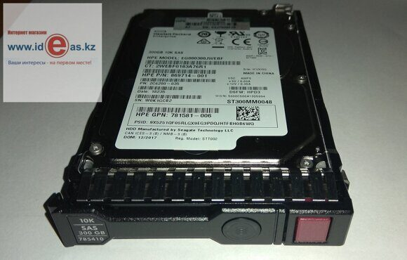 Жесткий диск 869714-001 HPE 300GB SAS 10K SFF 12gb SC DS HDD